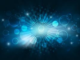 Fondo abstracto del vector con las luces, el efecto de semitono y las burbujas que brillan intensamente.