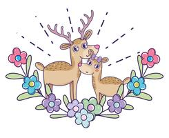 deer couple with flowers and leaves to valentine day