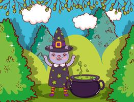 Halloween cat witch cartoon