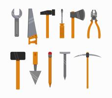 Construction tools on a white background
