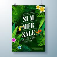 Summer Sale Poster Design Template with Flower, Toucan Bird and Exotic Leaves on Dark Green Background. Tropical Floral Vector Illustration with Special Offer Typography for Coupon