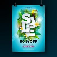Modèle de conception affiche de vente de l'été avec fleur, oiseau Toucan et feuilles exotiques sur fond bleu. Illustration vectorielle floral tropical avec typographie offre spéciale pour le coupon