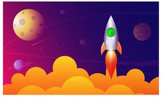Rakettlansering, ship.vector, illustrationkoncept av affärsprodukt på en marknad.
