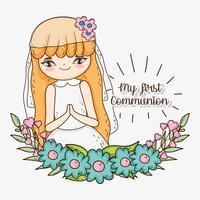 fille première communion avec des fleurs et des feuilles