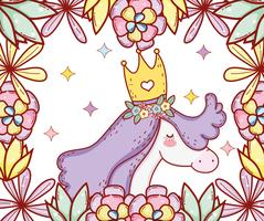 cute unicorn wearing crown with flowers and leaves