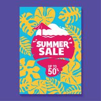 Summer Sale Illustration with Beach and Tropical Leaves Background