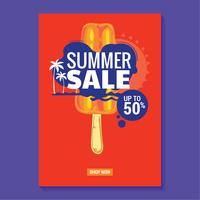 Summer Sale Illustration with Beach and Tropical Leaves Background. Great for sale poster