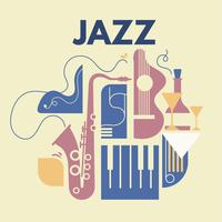 Abstract Jazz Art and Musical Instruments