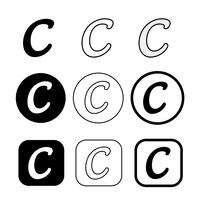 Copyright icon symbol sign vector