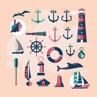 Söt och Vintage Nautical Vector Design Elements