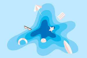 Urlaubsfreude in den Sommerferien und im Strandhintergrund