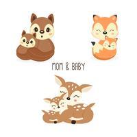 Verzameling van schattige familie bos dieren. Vossen, herten, eekhoorns cartoon.