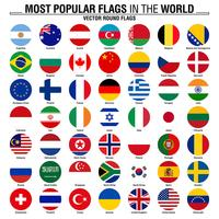 Collection of round flags, most popular world flags