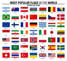 Collection of flags, most popular world flags