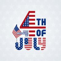 Fourth of July typographic lettering