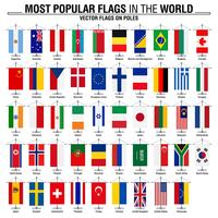 Flags on poles, most popular world flags