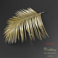 Tropical golden palm leaves on black background