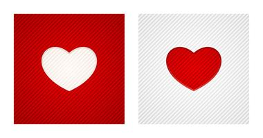 Striped engraving heart shapes on red and white backgrounds