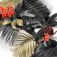 Hojas tropicales negras y doradas sobre fondo blanco
