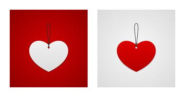 Red and white heart shaped labels