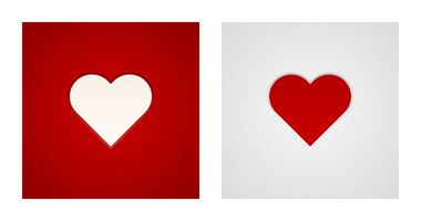Engraving heart shapes on red and white backgrounds