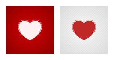 Heart sketches on red and white backgrounds
