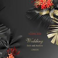 Tropical black and gold leaves on dark background