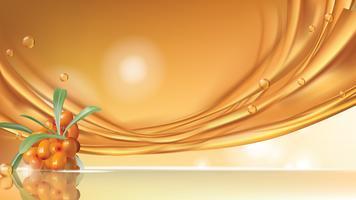 Sea buckthorn vector realistic banner ad