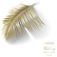Tropical golden palm leaves on white background