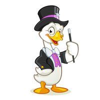 Personagem de desenho animado de mago de ganso