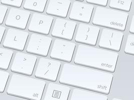 White blank computer keyboard, close up vector image