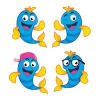 set of four fish characters