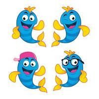 conjunto de cuatro personajes de peces