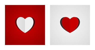 Folded and cut heart shapes on red and white backgrounds