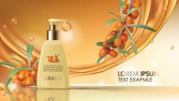 Sea buckthorn cosmetics vector realistic