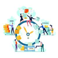 Deadline, time management business concept vector
