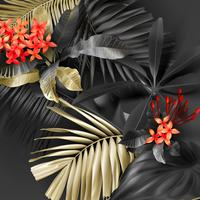 Hojas tropicales negras y doradas sobre fondo oscuro
