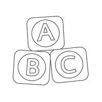 A B C baby toy brick block icon vector