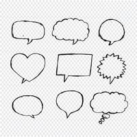 Mão de esboço de bolha de discurso desenhada