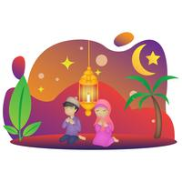 eid mubarak karaktär illustration