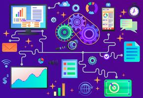Data processing, abstract vector illustration in bold flat style