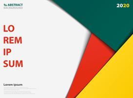 Modello colorato astratto per la presentazione di sfondo geometrico sovrapposti. Decorazione in colore verde giallo arancio, per pubblicità, poster, materiale illustrativo di presentazione.