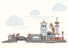 Port and city view. Vector outline illustration
