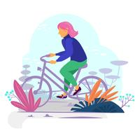 Bike riding girl in a bold modern style vector