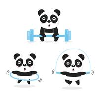 Funny Pandas doing exercise.