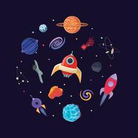 Cartoon sci fi space background. Vector Illustration