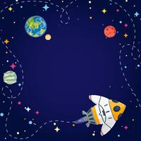 Frame with spaceship, planets, and stars in open space. Vector illustration cartoon style