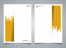Abstrakte moderne gelbe Streifenlinie Muster des Schablonenbroschürenhintergrundes. Sie können für Geschäftsbroschüre, Anzeige, Plakat, Darstellung, Buch, Jahresbericht, Gestaltungsarbeit verwenden.