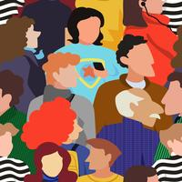 Seamless pattern of people crowd in a bold modern style