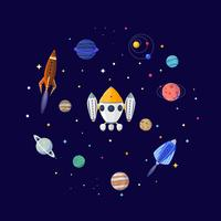Cartoon Sci Fi Space Hintergrund. Vektor-Illustration